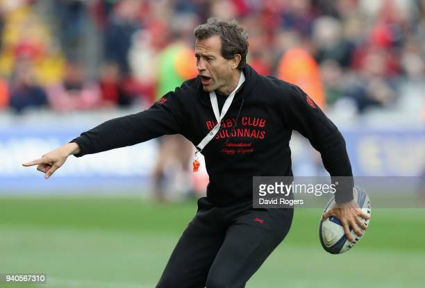 Fabien Galthie the Toulon head coach looks on in the warm up during the European Rugby Champions Cup match between Munster Rugby and RC Toulon at...