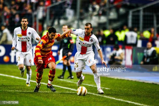 Fabien LAURENTI of Lens and Jerome ROTHEN of PSG during the League Cup Final match between RC Lens and Paris Saint Germain at Stade de France Paris...