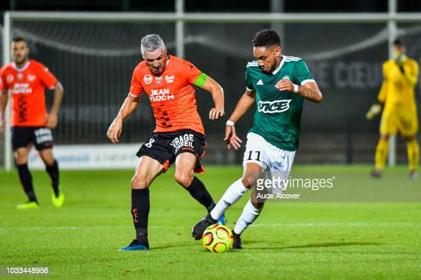 Fabien Lemoine of Lorient and Loic Lapoussin of Red Star during the French Ligue 2 match between Red star and Lorient at Stade Pierre Brisson on...