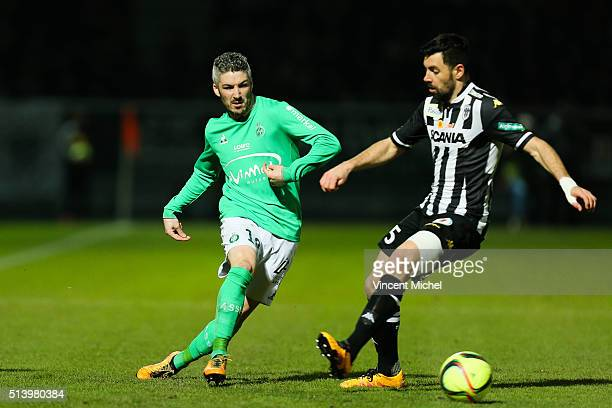 Fabien Lemoine of SaintEtienne and Thomas Mangani of Angers during the French Ligue 1 match between Angers SCO v AS SaintEtienne at Stade JeanBouin...