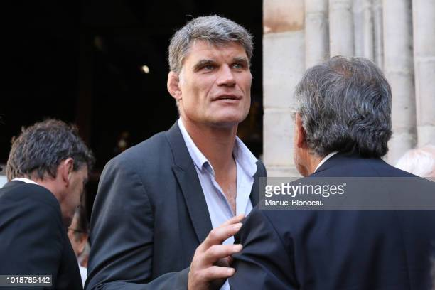 Fabien Pelous is seen at the burial of Pierre Camou in Saint Jean Pied de Port during the Funeral of former rugby player Pierre Camou on August 18...