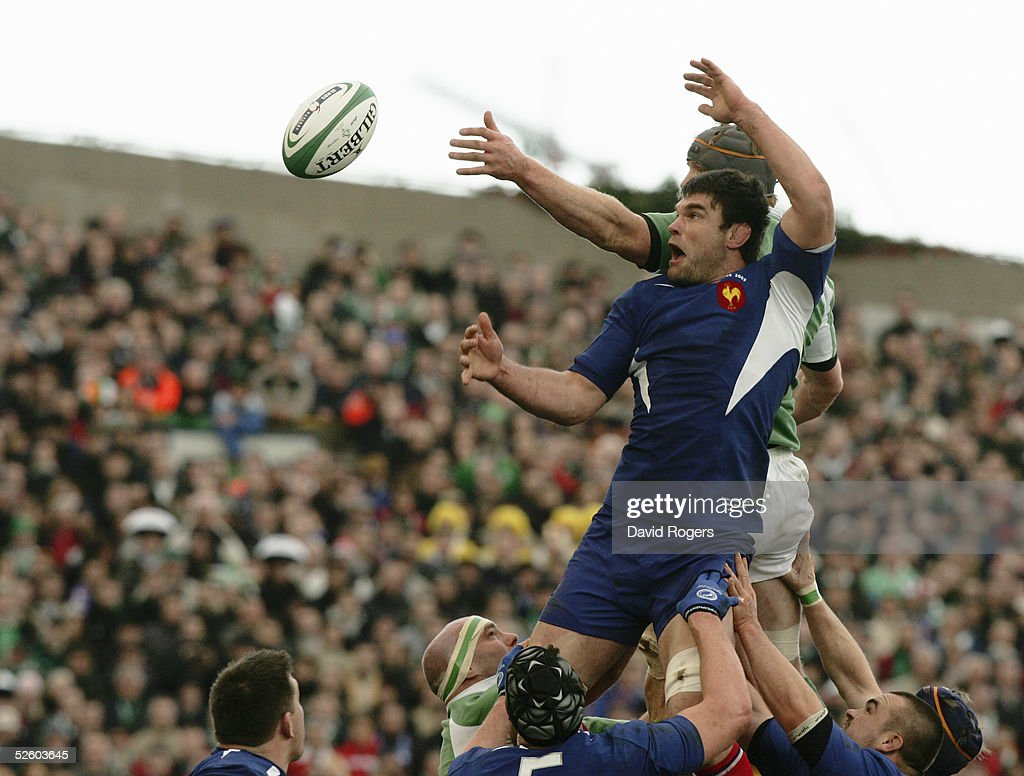 Fabien Pelous of France competes with Ireland's Paul O'Connell during the RBS Six Nations Championship match between Ireland and France at Lansdowne Road on March 12, 2005 in Dublin, Ireland.