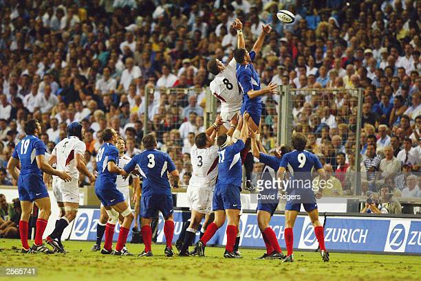 Fabien Pelous of France wins the ball in the Line Out during the Rugby Union International match between France and England on August 30 2003 at...
