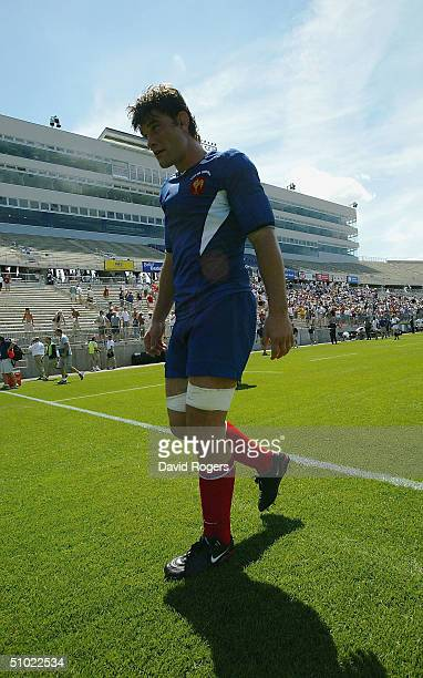 Fabien Pelous, the French captain leaves the field after his team victory in the United States Eagles v France rugby union international at...
