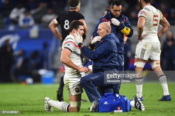 Fabien Sanconnie of France and doctor Jean Philippe Hager during the rugby test match between France and New Zealand at Stade des Lumieres on...