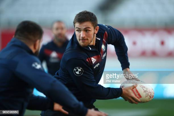 Fabien Sanconnie of France passes during the France Captain's Run at Eden Park on June 8, 2018 in Auckland, New Zealand.
