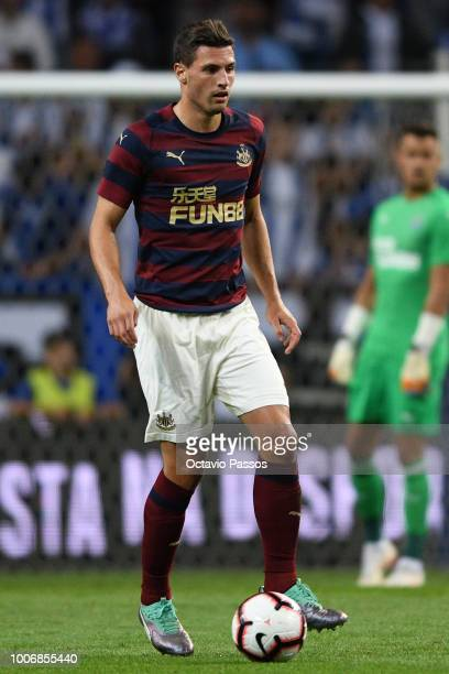 Fabien Schar of Newcastle in action during the preseason friendly match between FC Porto and Newcastle at Estádio do Drago on July 28 2018 in Porto...