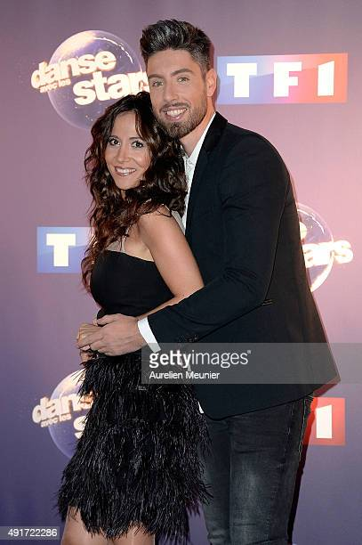 Fabienne Carat and Julien Brugel pose during the 'Dances With The Stars' photocall on October 7 2015 in Paris France