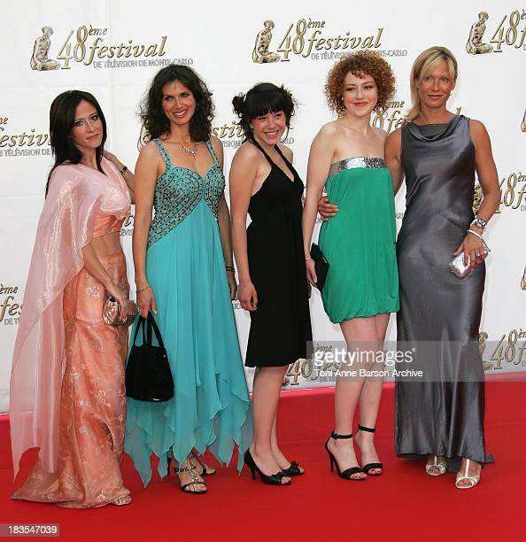 Fabienne Carat Valerie Baurens Coline D'Inca Blandine Bellavoir and Rebecca Hampton attend the opening night of the 2008 Monte Carlo Television...