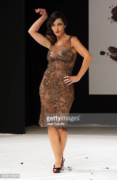 Fabienne Carat walks the runway during the Chocolate Fashion Show as part of Salon du Chocolat Paris 2016 at Parc des Expositions Porte de Versailles...