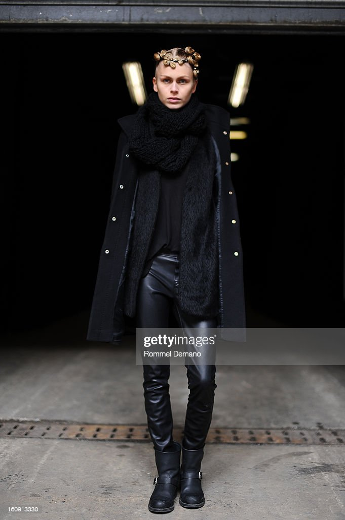 Fabienne Hagedorn, Model from Supreme Agency, attends the Kimberly Ovitz show wearing vintage scarf, Zara jacket and Frye shoes on February 7, 2013 in New York City.