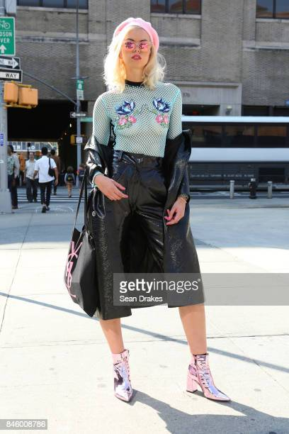 Fabienne Hebrard wearing Sadie Clayton leather jacket and shorts with Public Desire boots attends the Spring/Summer 2018 womenswear collection shows...