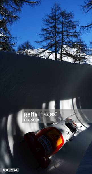 Fabienne Meyer and Elisabeth Graf of Switzerland compete during the Women's Bobsleigh heat 2 of the IBSF Bob & Skeleton World Championship at Olympia...