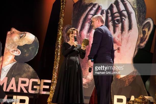 Fabienne Pascaud et Gwenaël Morin lors de la remise des Topor d'Or 2018, événement conçu et réalisé par Jean Michel Ribes, prix de l'inattendu du...
