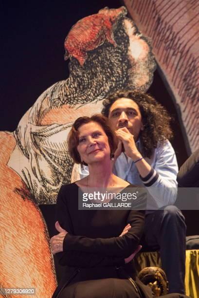 Fabienne Pascaud et Kader Aoun lors de la remise des Topor d'Or 2018, événement conçu et réalisé par Jean Michel Ribes, prix de l'inattendu du...