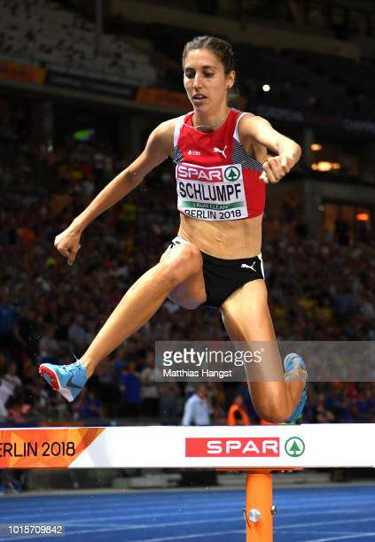 Fabienne Schlumpf of Switzerland competes in the Women's 3000 metres steeplechase final during day six of the 24th European Athletics Championships...