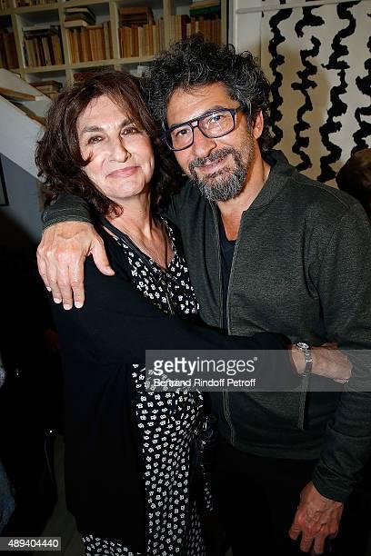 Fabienne ServanSchreiber and Director Radu Mihaileanu attend the Marek Halter Celebrates Rosh Hashanah In Paris on September 20 2015 in Paris France