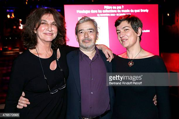 Fabienne ServanSchreiber artist Herve Di Rosa and his wife Victoire attend the Martine Aublet Foundation Award Night at the Musee Du Quai Branly on...