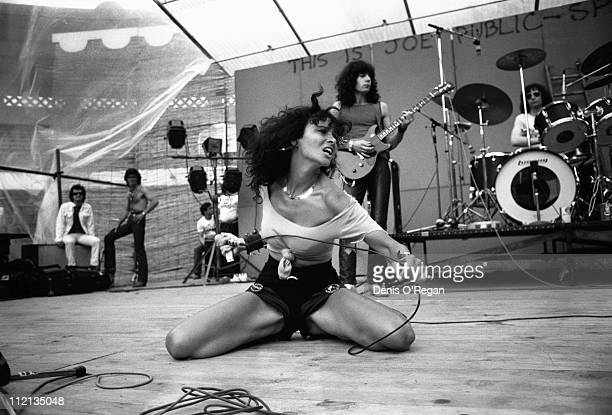 Fabienne Shine Eric Levi and JeanLou Kalinowski of Shakin' Street live at MontdeMarsan in France 1978