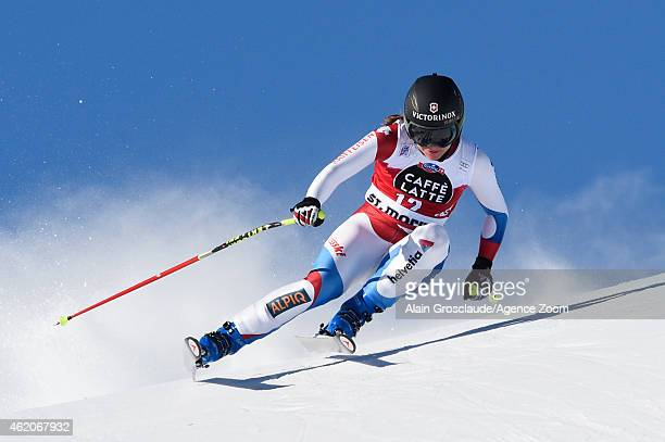 Fabienne Suter of Switzerland competes during the Audi FIS Alpine Ski World Cup Women's Downhill on January 24 2015 in St Moritz Switzerland