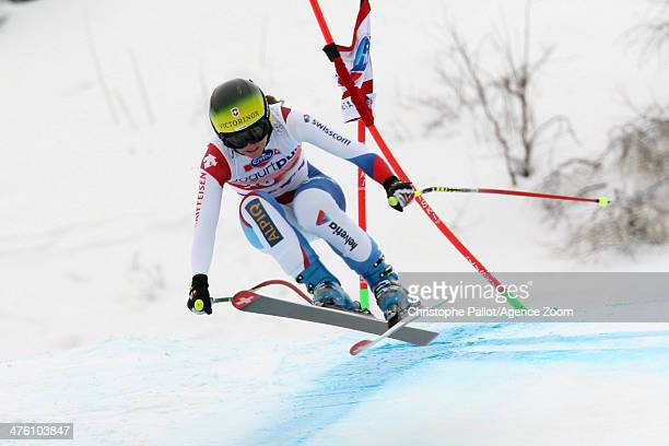 Fabienne Suter of Switzerland competes during the Audi FIS Alpine Ski World Cup Women's Downhill on March 02 2014 in CransMontana Switzerland