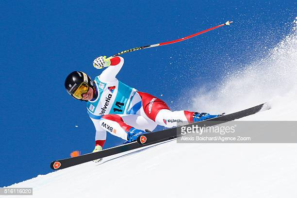 Fabienne Suter of Switzerland competes during the Audi FIS Alpine Ski World Cup Finals Men's and Women's SuperG on March 17 2016 in St Moritz...