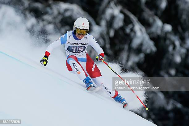 Fabienne Suter of Switzerland competes during the Audi FIS Alpine Ski World Cup Women's Downhill on January 21 2017 in GarmischPartenkirchen Germany