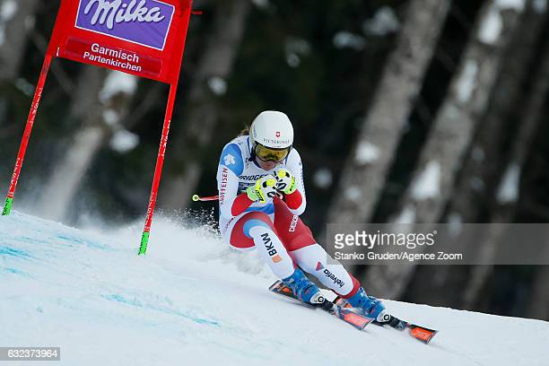 Fabienne Suter of Switzerland competes during the Audi FIS Alpine Ski World Cup Women's SuperG on January 22 2017 in GarmischPartenkirchen Germany