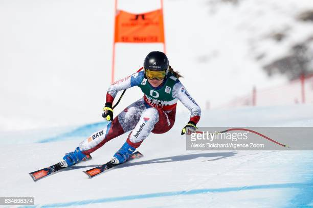 Fabienne Suter of Switzerland competes during the FIS Alpine Ski World Championships Women's Downhill on February 12 2017 in St Moritz Switzerland