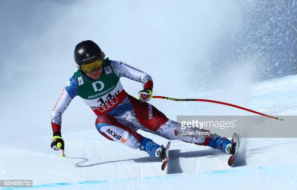 Fabienne Suter of Switzerland competes in the Women's Downhill during the FIS Alpine World Ski Championships on February 12 2017 in St Moritz...