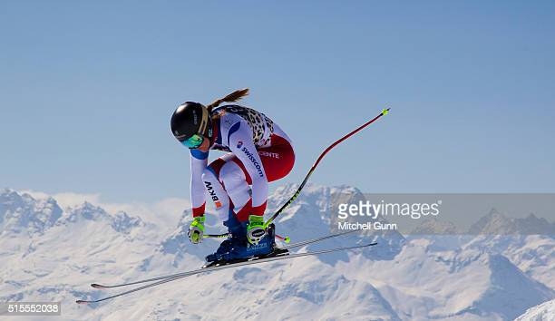 Fabienne Suter of Switzerland in action during Audi FIS Alpine Skiing World Cup downhill training on March 14 2015 in St Moritz Switzerland