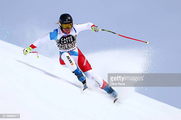 Fabienne Suter of Switzerland in action during the Audi FIS Alpine Skiing World Cup Women's downhill training on March 15 2016 in St Moritz...