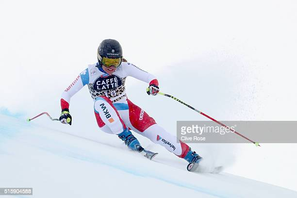 Fabienne Suter of Switzerland in action during the Audi FIS Alpine Skiing World Cup Women's Downhill Race on March 16 2016 in St Moritz Switzerland