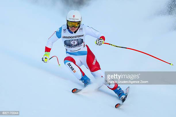 Fabienne Suter of Switzerland in action during the Audi FIS Alpine Ski World Cup Women's Downhill Training on January 20 2017 in...