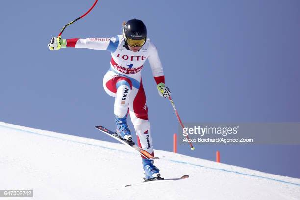 Fabienne Suter of Switzerland in action during the Audi FIS Alpine Ski World Cup Women's Downhill Training on March 03 2017 in Jeongseon South Korea