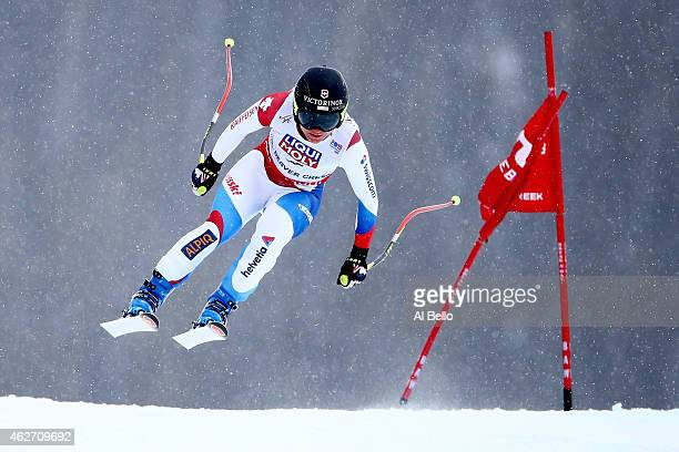 Fabienne Suter of Switzerland races during the Ladies' SuperG on the Raptor racecourse on Day 2 of the 2015 FIS Alpine World Ski Championships on...