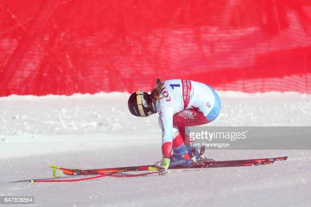Fabienne Suter of Switzerland reacts after crashing during the Audi FIS Ski World Cup 2017 Ladies' Downhill Training at the Jeongseon Alpine Centre...