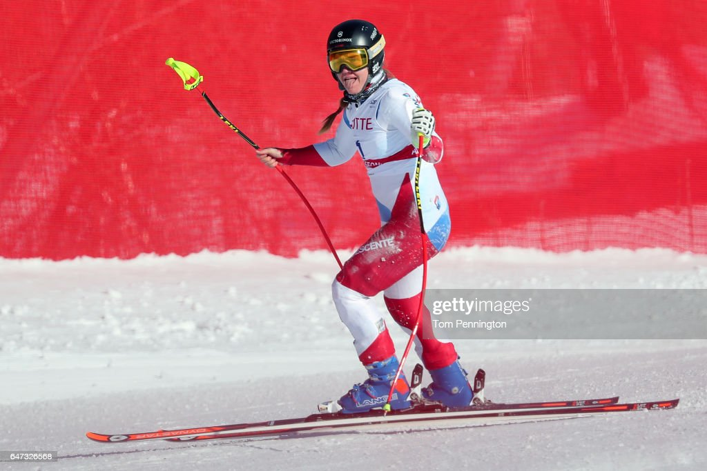 Fabienne Suter of Switzerland reacts after crashing during the Audi FIS Ski World Cup 2017 Ladies' Downhill Training at the Jeongseon Alpine Centre on March 3, 2017 in Jeongseon-gun, South Korea.