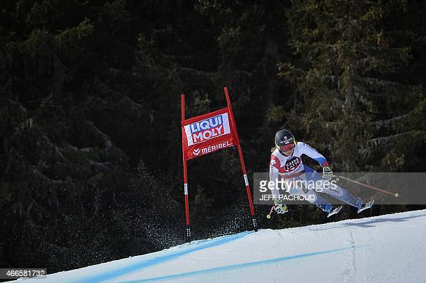 Fabienne Suter of Switzerland skis past during a training session in Meribel on March 17 2015 ahead of the Audi FIS Word Cup Finals women's downhill...