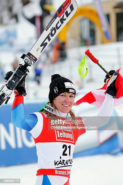 Fabienne Suter of Switzerland takes 1st place during the Audi FIS Alpine Ski World Cup Women's SuperG on January 8 2012 in Bad Kleinkirchheim Austria
