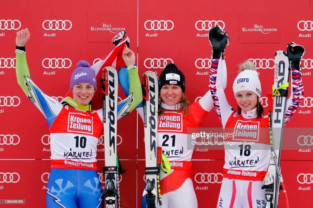 Fabienne Suter of Switzerland takes 1st place, Tina Maze of Slovenia takes 2nd place, Anna Fenninger of Austria takes 3rd place during the Audi FIS Alpine Ski World Cup Women's SuperG on January 8, 2012 in Bad Kleinkirchheim, Austria.