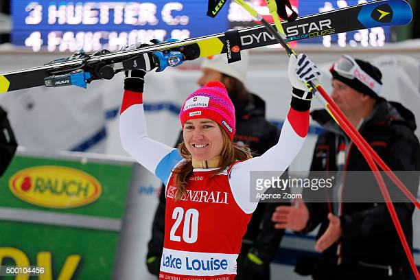 Fabienne Suter of Switzerland takes 2nd place during the Audi FIS Alpine Ski World Cup Women's Downhill on December 05 2015 in Lake Louise Canada