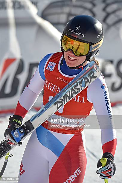 Fabienne Suter of Switzerland takes 2nd place during the Audi FIS Alpine Ski World Cup Women's Downhill on December 19 2015 in Val dâIsere France