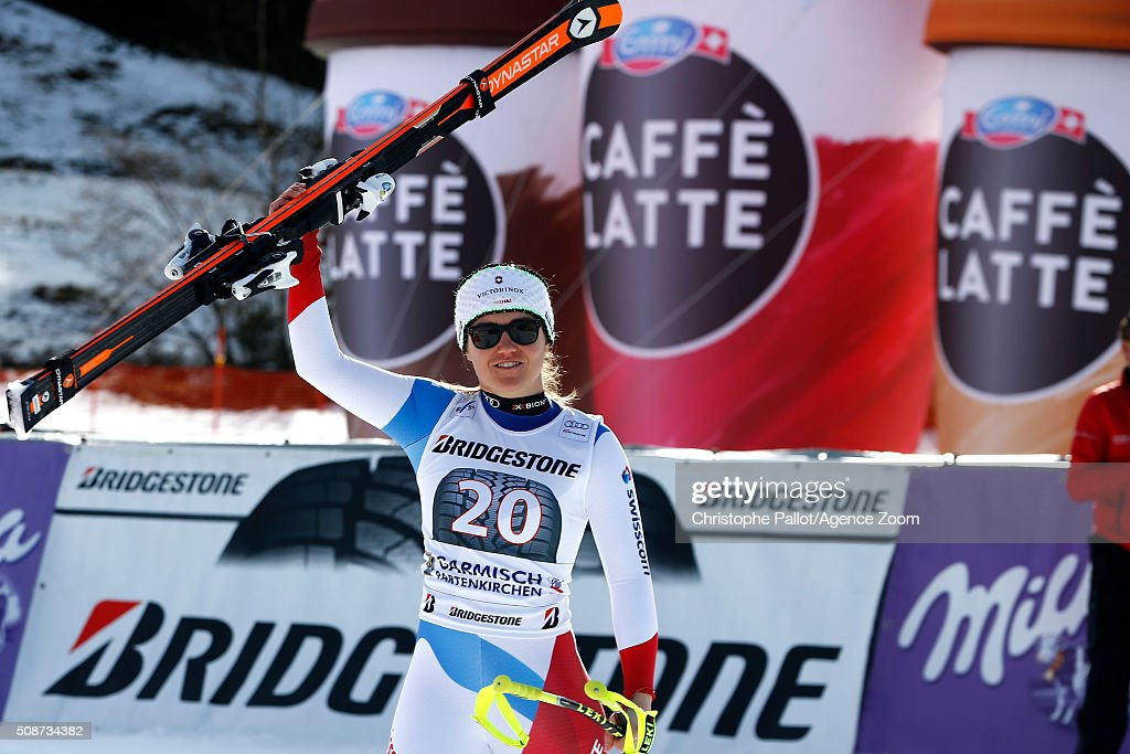Fabienne Suter of Switzerland takes 2nd place during the Audi FIS Alpine Ski World Cup Women's Downhill on February 06, 2016 in Garmisch-Partenkirchen, Germany.
