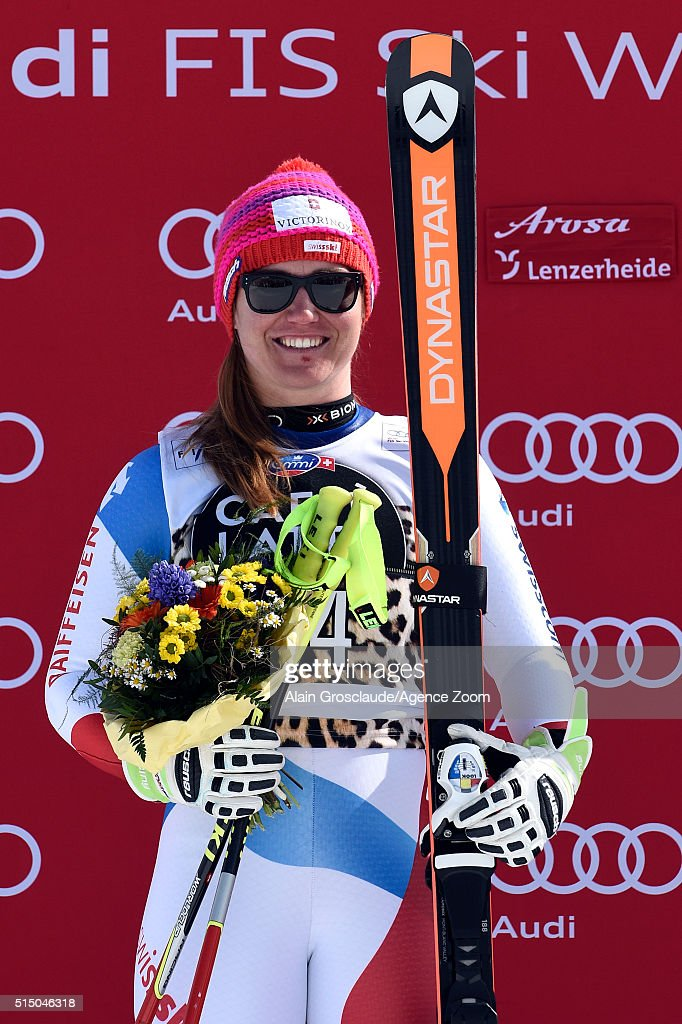 Fabienne Suter of Switzerland takes 2nd place during the Audi FIS Alpine Ski World Cup Women's Super-G on March 12, 2016 in Lenzerheide, Switzerland.