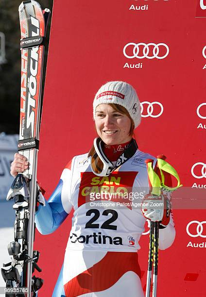 Fabienne Suter of Switzerland takes 2nd place during the Audi FIS Alpine Ski World Cup Women's Super G on January 22 2010 in Cortina d'Ampezzo Italy