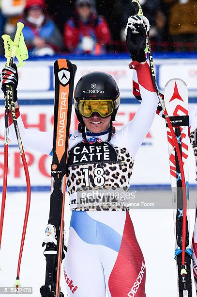 Fabienne Suter of Switzerland takes 2nd place in the race and 2nd place in the overall downhill standings during the Audi FIS Alpine Ski World Cup...