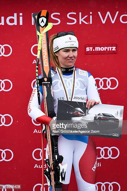 Fabienne Suter of Switzerland takes 2nd place in the race and in the overall downhill standings during the Audi FIS Alpine Ski World Cup Finals Men's...