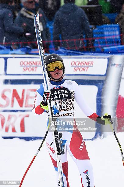 Fabienne Suter of Switzerland takes 2nd place in the race and the overall downhill standings during the Audi FIS Alpine Ski World Cup Finals Men's...