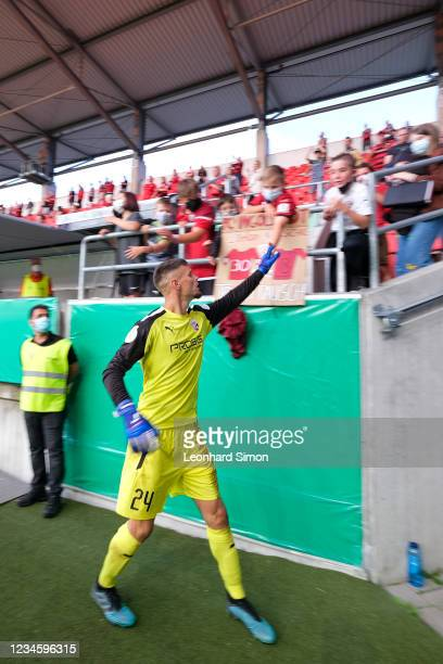 Fabijan Bunti (249 of FC Ingolstadt with fans after the DFB Cup first round match between FC Ingolstadt 04 and Erzgebirge Aue at Audi Sportpark on...